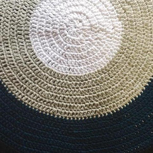 Crochet Floor Rug Three Tone - White, Grey & Navy - Wholesome Habitat