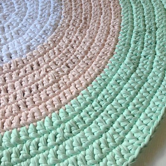 Crochet Floor Rug Three Tone - White, Mint & Pink - Wholesome Habitat