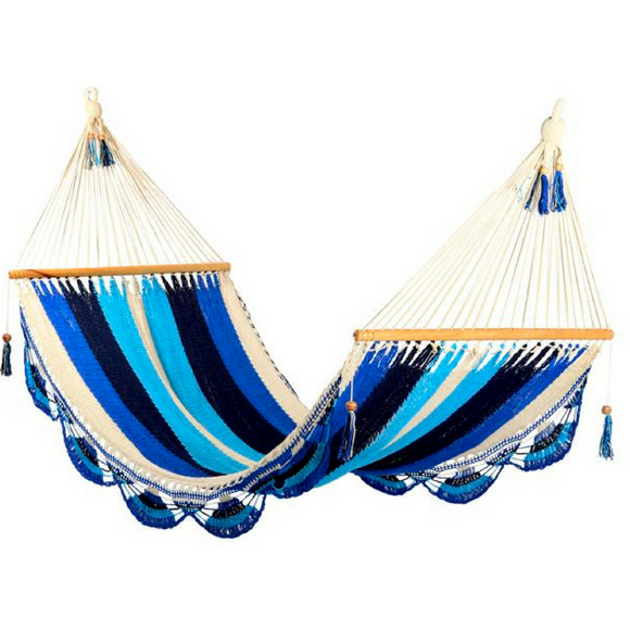 Crochet Hammock in Mixed Blue - Wholesome Habitat
