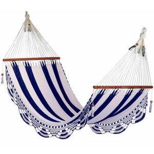 Crochet Hammock in Striped Navy & White - Wholesome Habitat