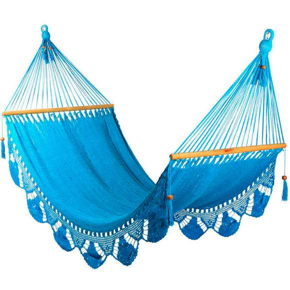 Crochet Hammock in Turquoise - Wholesome Habitat