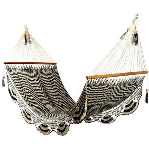 Large Crochet Hammock in Zebra - Wholesome Habitat