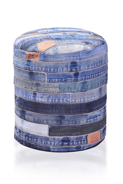 Denim Belt Strap Recycled Ottoman - Wholesome Habitat