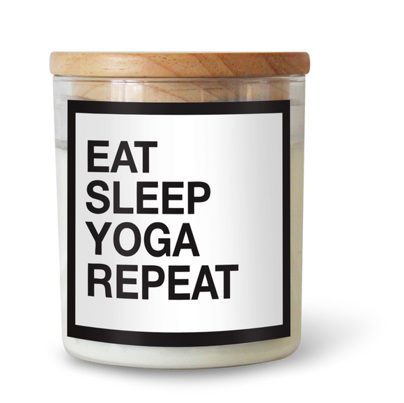 Eat, Sleep, Yoga, Repeat - Natural Pure Soy Wax Candle - Wholesome Habitat