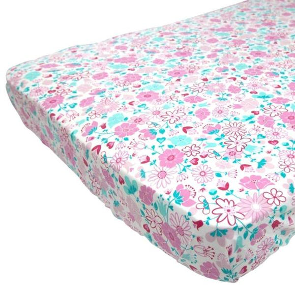 Organic Cotton Fitted Cot/Crib Sheet- Fairy Garden Floral - Wholesome Habitat