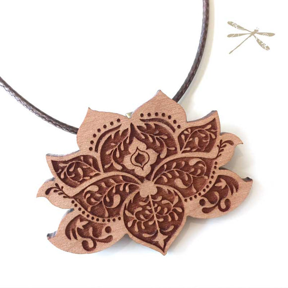 Lasercut Wood Lotus Flower Pendant - Wholesome Habitat