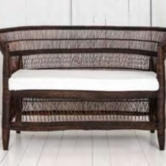 Malawi Cane Traditional Chair - 2 Seater in Dark Brown - Wholesome Habitat
