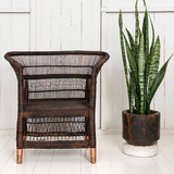 Malawi Cane Traditional Chair - 1 Seater in Dark Brown - Wholesome Habitat