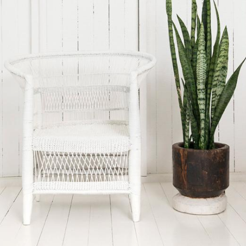 Malawi Cane Traditional Chair - 1 Seater in White - Wholesome Habitat