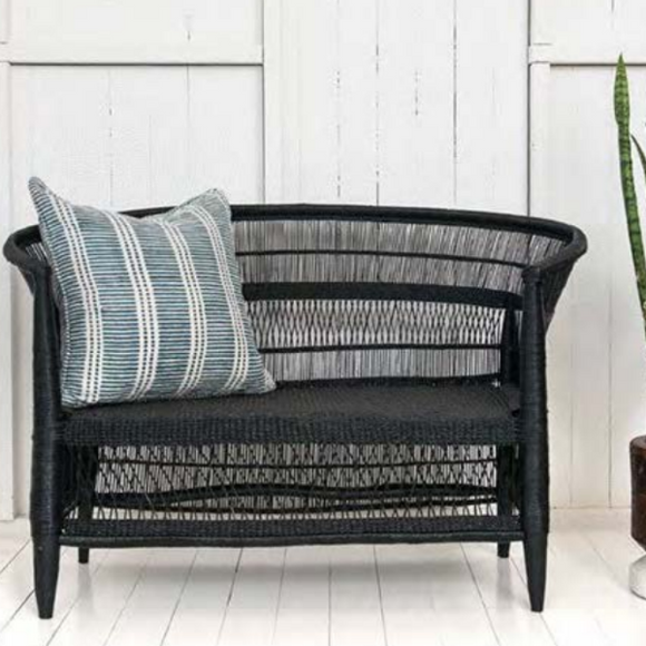Malawi Cane Traditional Chair - 2 Seater in Black - Wholesome Habitat