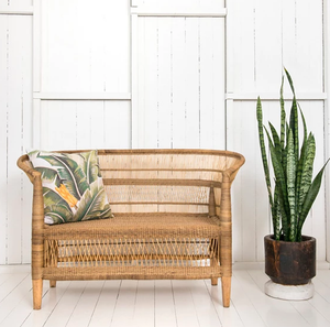 Malawi Cane Traditional Chair - 2 Seater in Natural - Wholesome Habitat