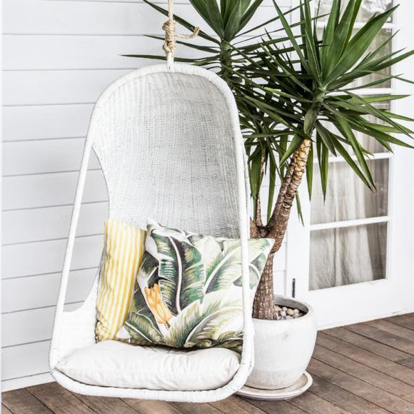 Malawi Cane Hanging Egg Chair - White - Wholesome Habitat