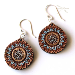 Mandala Sunrise Wood Earrings - Wholesome Habitat