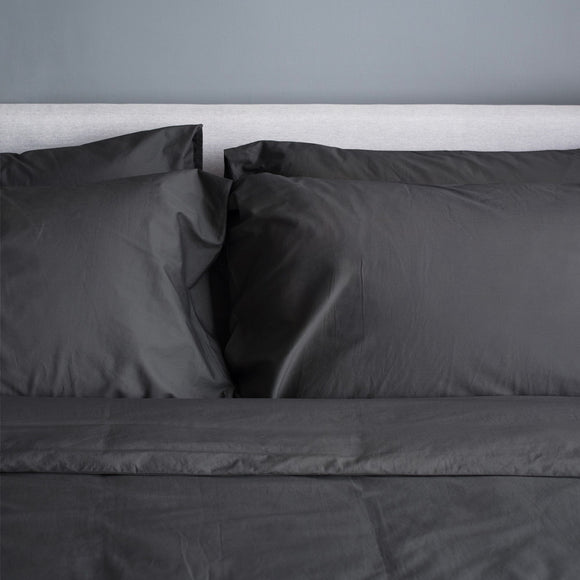 100% Organic Bamboo Quilt Cover Set - Charcoal - Wholesome Habitat