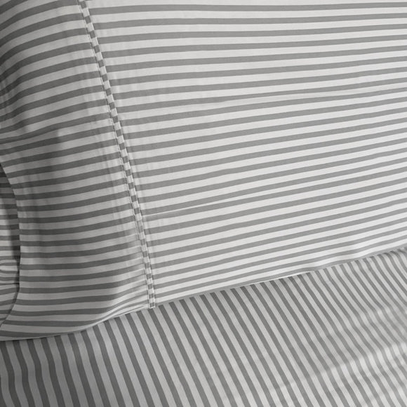 100% Organic Bamboo Quilt Cover Set - Striped Dove Grey - Wholesome Habitat