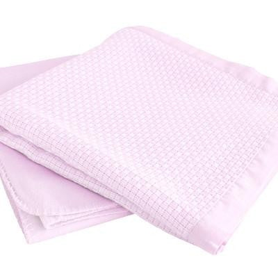 Organic Bamboo Cot And Pram Blanket Set - Light Pink - Wholesome Habitat