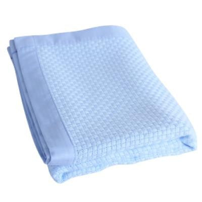 Organic Bamboo Cot Blanket - Light Blue - Wholesome Habitat