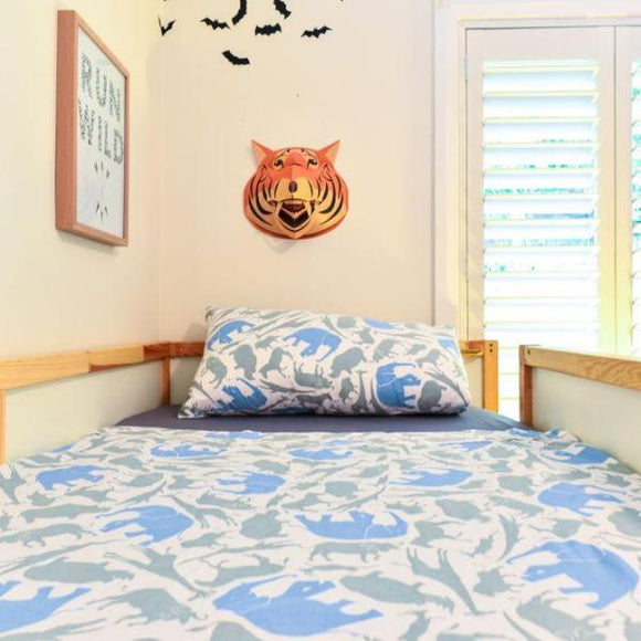 Organic Cotton Safari Print Doona/Quilt Cover Set - Single - Wholesome Habitat