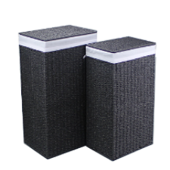Paper Rope Set of 2 Black Laundries (Set of 2) - Wholesome Habitat