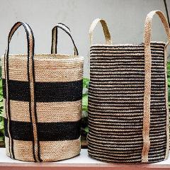 Set of 2 Jute Black Striped Cylinders. CV01092BK