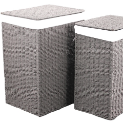 Paper Rope Set of 2 Cool Grey Laundries (Set of 2) - Wholesome Habitat