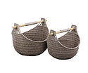 Paper Rope Set of 2 Wheat Grain Magazine Baskets with Wood Handles. - Wholesome Habitat