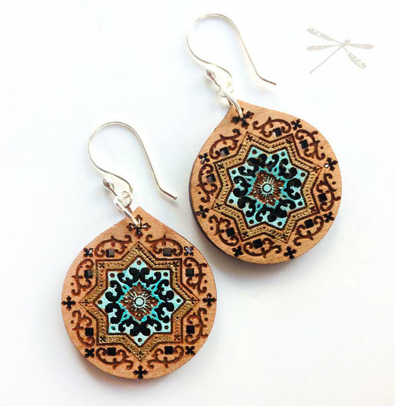 Persian Princess Wood Drop Earrings - Wholesome Habitat