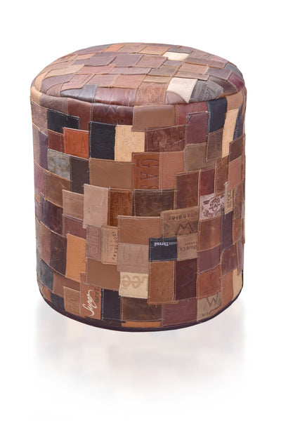 Recycled Leather Ottoman - Wholesome Habitat