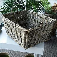 Rattan Rectangle Kubu Grey Utility Basket (Set of 2).