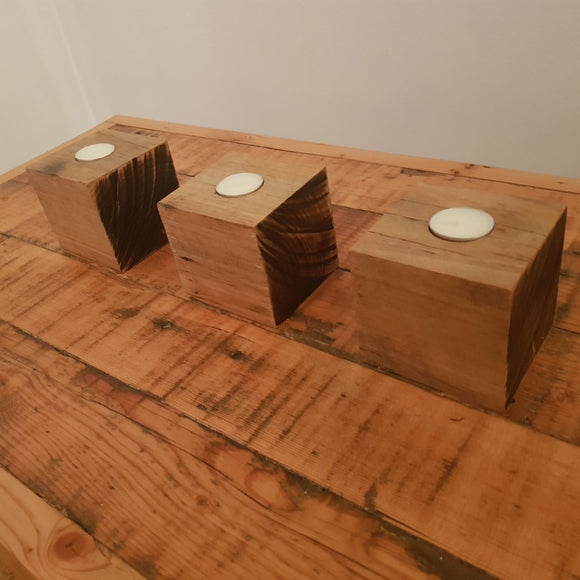 Reclaimed Australian Hardwood Tea Light Candle Holders (set of 3)