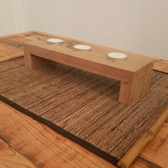 Reclaimed Australian Hardwood Waterfall Tea Candle Holder - Wholesome Habitat