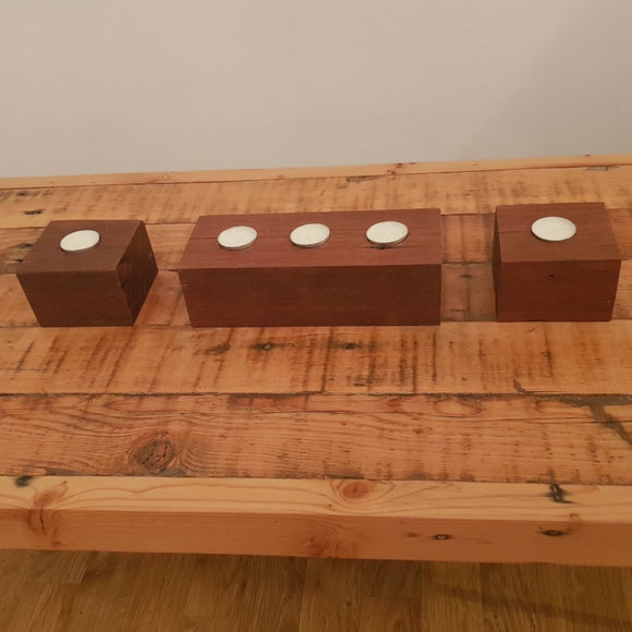 Reclaimed Australian Hardwood Tea Candle Holders. (set of 3) - Wholesome Habitat