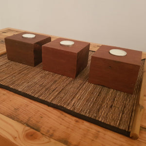 Reclaimed Australian Hardwood Tea Candle Holder. (set of 3)