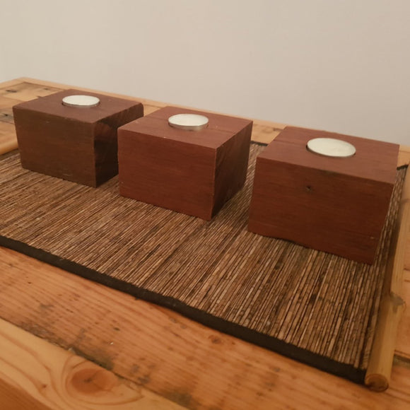 Reclaimed Australian Hardwood Tea Candle Holder. (set of 3) - Wholesome Habitat