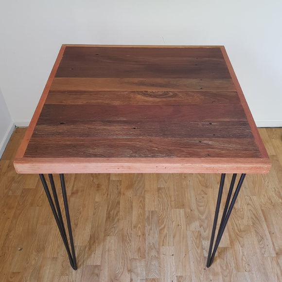 Reclaimed Hardwood Timber Cafe Table with Hairpin Legs - Wholesome Habitat