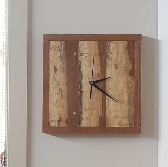 Reclaimed/Recycled Timber Wall Clock 345 x 345mm - 12 Brass