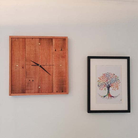 Reclaimed Hardwood Timber Wall Clock - 4 Brass Indicators - Wholesome Habitat