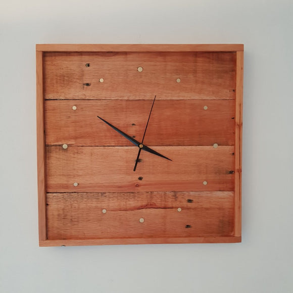 Reclaimed Hardwood Timber Wall Clock - 12 Brass Indicators