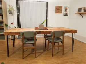 Reclaimed Oregon Timber Dining Table with Hairpin Legs