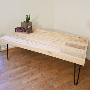 Reclaimed Timber Coffee Table with Black Hairpin Legs - Wholesome Habitat