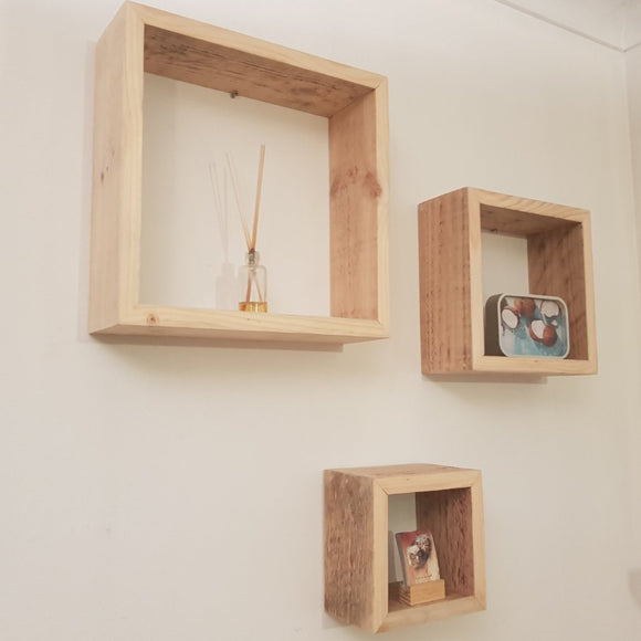 Reclaimed Timber Cube Shelves (Set of 3)
