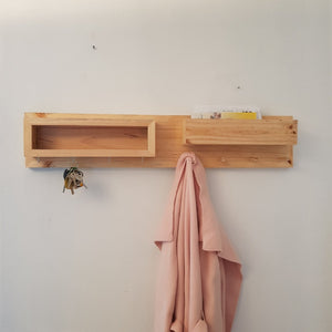 Reclaimed Timber Entry Organiser & Coat Rack - Large