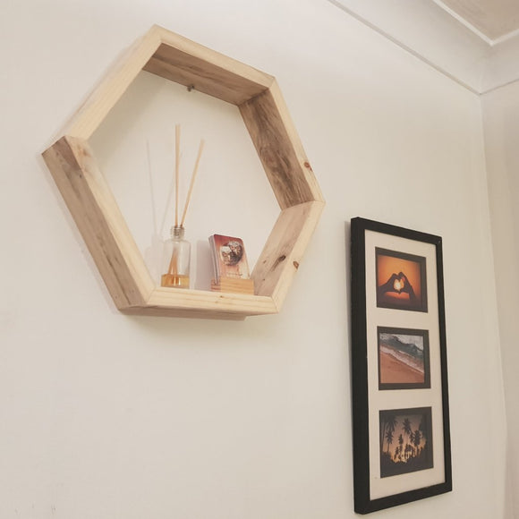 Reclaimed Timber Hexagon Wooden Shelf