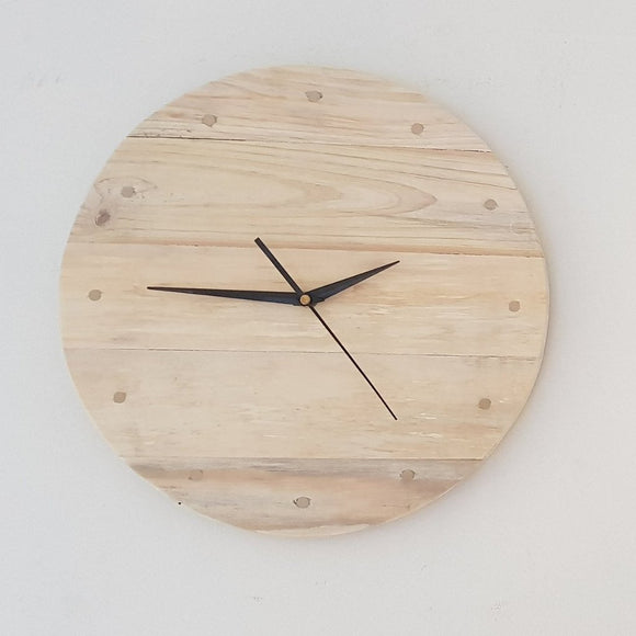 Reclaimed Timber Round Wall Clock (White Washed) - 12 Brass Indicators - Wholesome Habitat