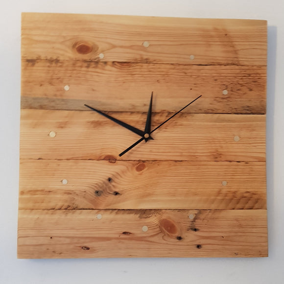 Reclaimed Timber Square Wall Clock (Beeswaxed) - 12 Brass Indicators - Wholesome Habitat