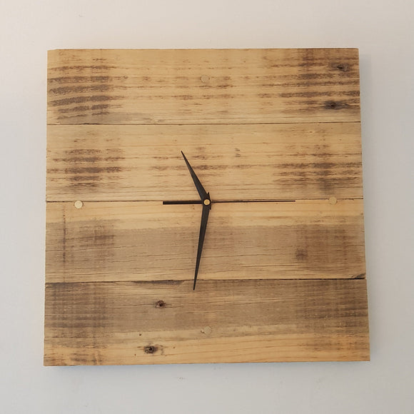 Reclaimed Timber Square Wall Clock (Beeswaxed) - 4 Brass Indicators 400mm x 400mm - Wholesome Habitat