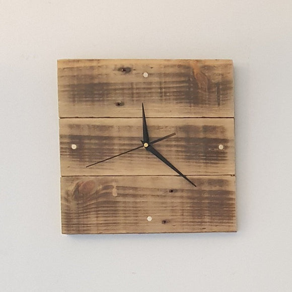 Reclaimed Timber Small Wall Clock (Beeswaxed) - 4 Brass Indicators 300mm x 300mm - Wholesome Habitat