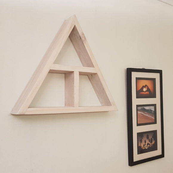 Reclaimed Timber Triangle Display Shelf - (White washed)