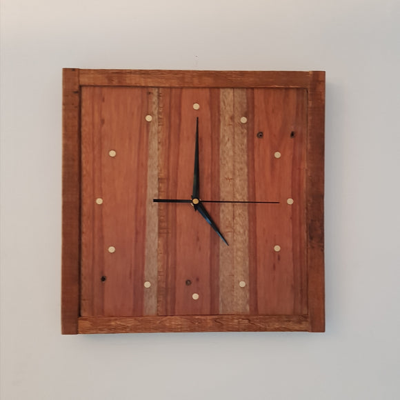 Reclaimed Timber Wall Clock 345 x 345mm - 12 Brass - Wholesome Habitat
