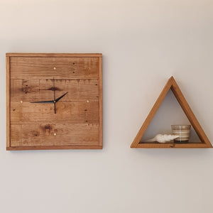 Reclaimed Timber Wall Clock 440 x 430mm - 4 Brass Indicators - Wholesome Habitat